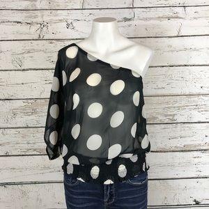 D4 Sans Souchi Blk/wht polka dot blouse S